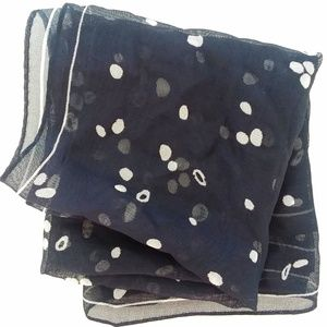 Ellen Tracy 100% Silk Sheer Navy Square Scarf